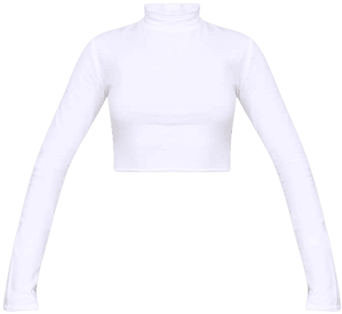 White High Neck Long Sleeve Crop Top | Tops | PrettyLittleThing