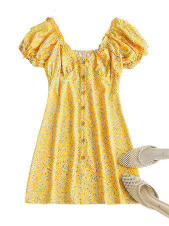 [27% OFF] 2021 Leaf Print Frilled Button Down Milkmaid Dress In LIGHT YELLOW | ZAFUL
