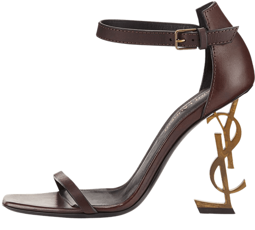 ysl leather sandal w logo heel