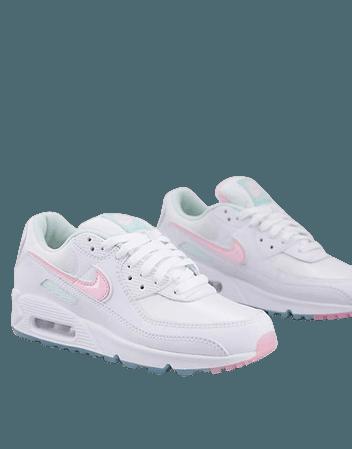 Nike Air Max 90 sneakers in white/arctic punch | ASOS