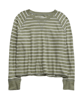Aerie Long Sleeve Cropped Boyfriend T-Shirt
