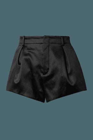Cotton-blend Satin Shorts - Black