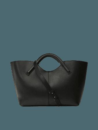 Τσάντα tote από δέρμα νάπα και χοντρό σουέντ - Mulher - Massimo Dutti