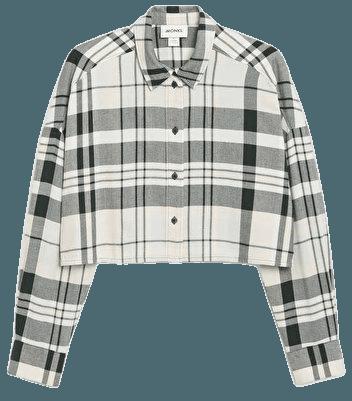 Cropped flannel shirt - Green check - Shirts & Blouses - Monki WW