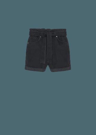 Paperbag denim shorts - Women   Mango USA