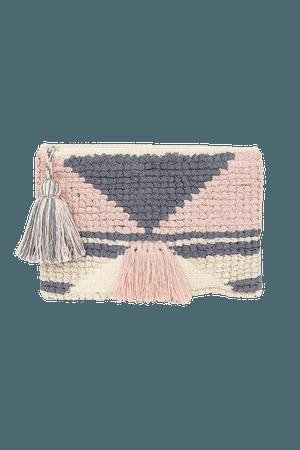 Pink Woven Clutch - Woven Fringe Clutch - Tassel Clutch Bag - Lulus