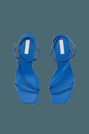 Leather Sandals - Bright blue - Ladies   H&M US