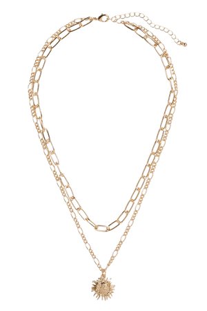 2-chain necklace with sun pendant - Gold-coloured - Necklaces - Monki WW