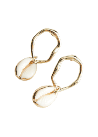Puka Shell Dangling Earrings - Gold - Hoops - & Other Stories