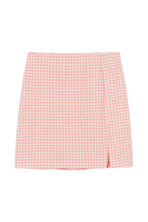 Fitted Jersey Skirt - Apricot/checked - Ladies | H&M US