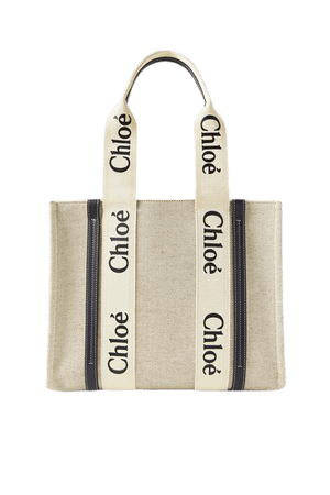 Woody Medium Leather-trimmed Cotton-canvas Tote - Beige