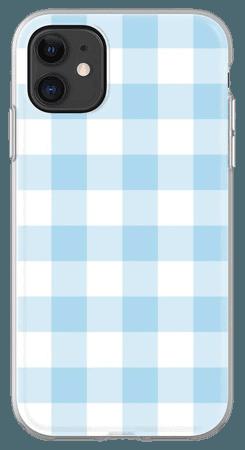 Blue gingham phone case