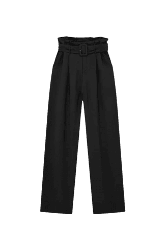 High-rise paperbag pants with belt - pull&bear