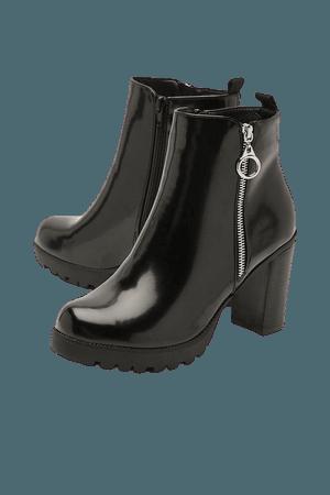 O Ring Pull Zip Side Block Heel Shoe Boots   boohoo