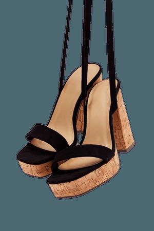 Immi Suede Ankle Wrap Cork Platform Heels | Nasty Gal