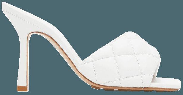 White Padded Heeled Sandals