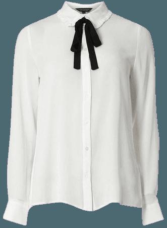 white blouse black bow retro