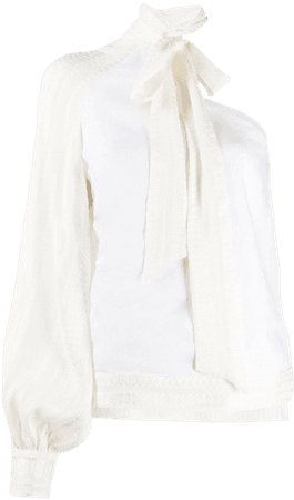 Zeus+Dione One Sleeve Bow Tie Blouse - Farfetch