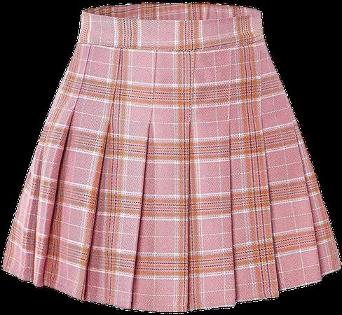 Amazon.com: Junior Teen Girls Womens School Uniform Cosplay Costume Plaid Pleated Short Skirt, Pink Plaid, US XL = Tag 2XL: Clothing