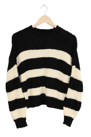 Cozy Striped Sweater - Fuzzy Black Striped Sweater - Knit Sweater - Lulus