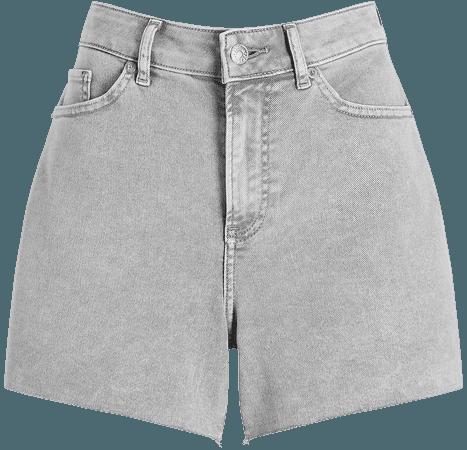 High Waisted Gray Raw Hem Curvy Jean Shorts | Express