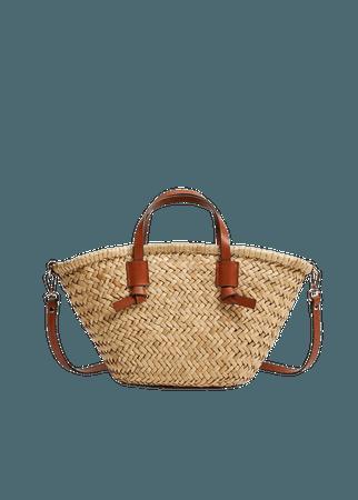 Double strap mini basket bag - Women   Mango USA