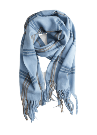Checked Wool Scarf - Blue Check - Fall & Winterscarves - & Other Stories