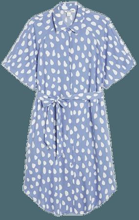 Midi shirt dress - Blue with white dots - Midi dresses - Monki WW