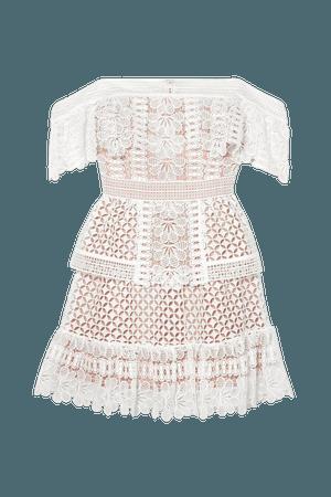 Ivory Off-the-shoulder guipure lace mini dress   Self-Portrait   NET-A-PORTER