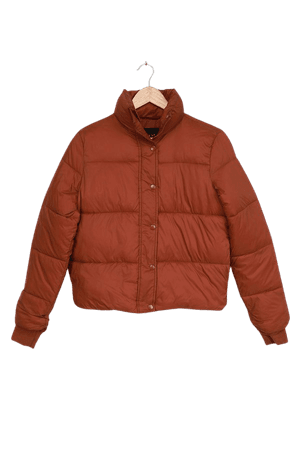 DELUC Aliyah Ocre - Rust Brown Jacket - Quilted Puffer Jacket - Lulus