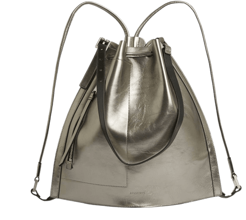 ALLSAINTS US: Womens Alpha Leather Backpack (silver)