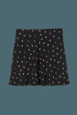 A-line Skirt - Black/purple floral - Ladies | H&M US