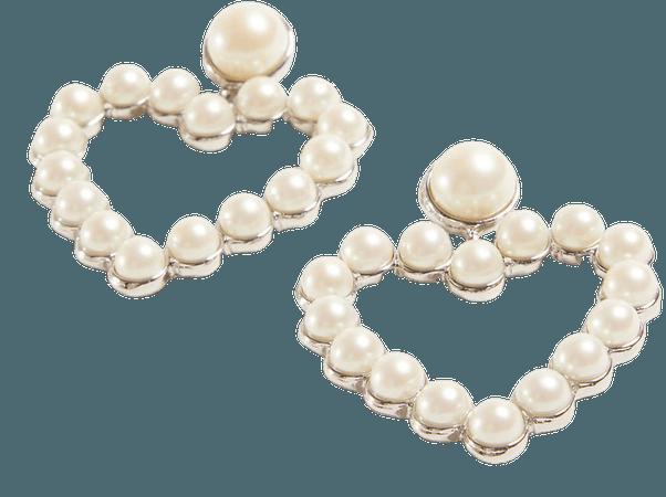 Pearlized Heart Statement Earrings | Ann Taylor