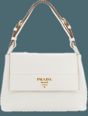Prada Vitello Daino Shoulder Bag, White (Bianco)