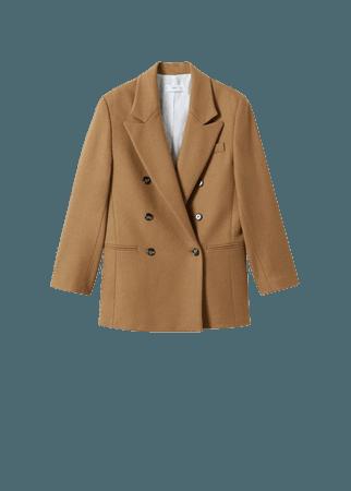 Double-breasted wool blazer - Women   Mango USA