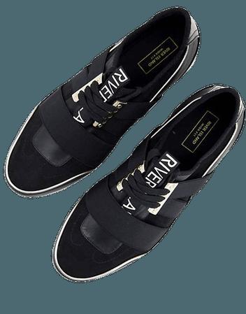 River Island Wide Fit pull on runner sneakers in black   ASOS