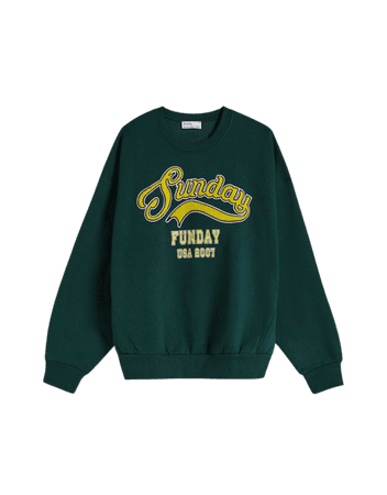 Embroidered print oversize sweatshirt - Sweatshirts and hoodies - Woman | Bershka