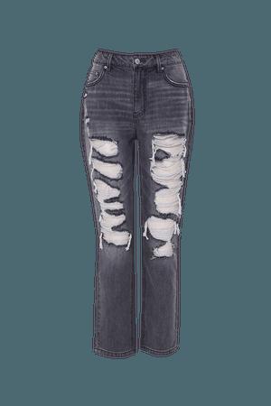 Destroyed Capri Jeans   Forever 21