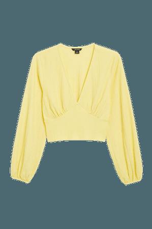 Deep v-neck blouse - Yellow - Shirts & Blouses - Monki WW