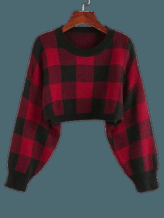 [32% OFF] 2020 ZAFUL Plaid Drop Shoulder Crop Sweater In CHESTNUT RED | ZAFUL