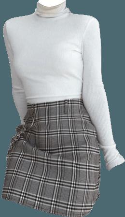 white turteneck aesthetic outfit plaid black dark academia grunge light