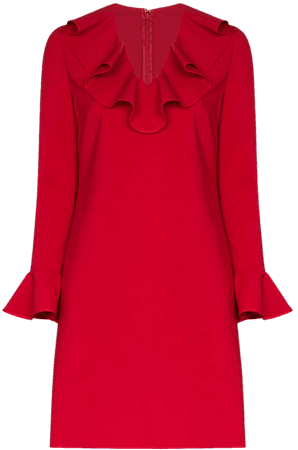 Shop red Valentino ruffle neck shift dress with Express Delivery - Farfetch