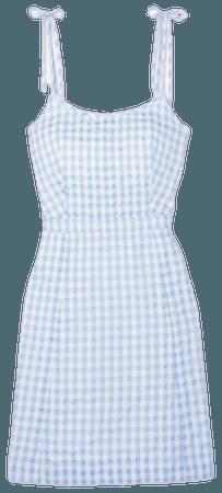 Pastel blue gingham dress