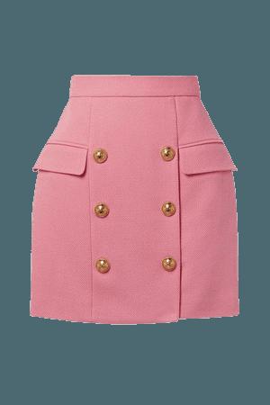 Button-embellished Cotton-pique Mini Skirt - Pink