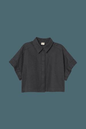 Linen-blend Crop Shirt - Dark gray - Ladies | H&M US