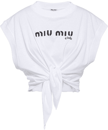 Shop white Miu Miu printed jersey top with Express Delivery - Farfetch