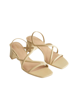 Chunky Strap Heeled Leather Sandals - Light Yellow - Heeled sandals - & Other Stories