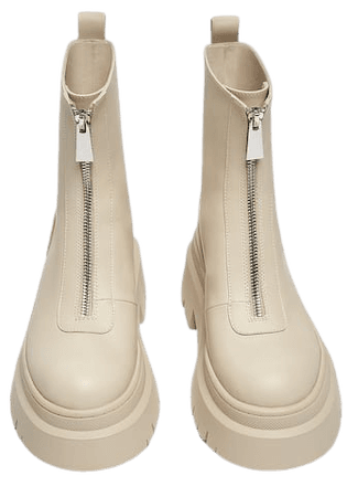 Flat ankle boots with zipper detail. - pull&bear