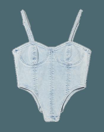 Denim corset top - Tees and tops - Woman | Bershka