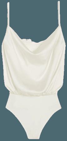 Lace Cowl Neck Thong Bodysuit | Express